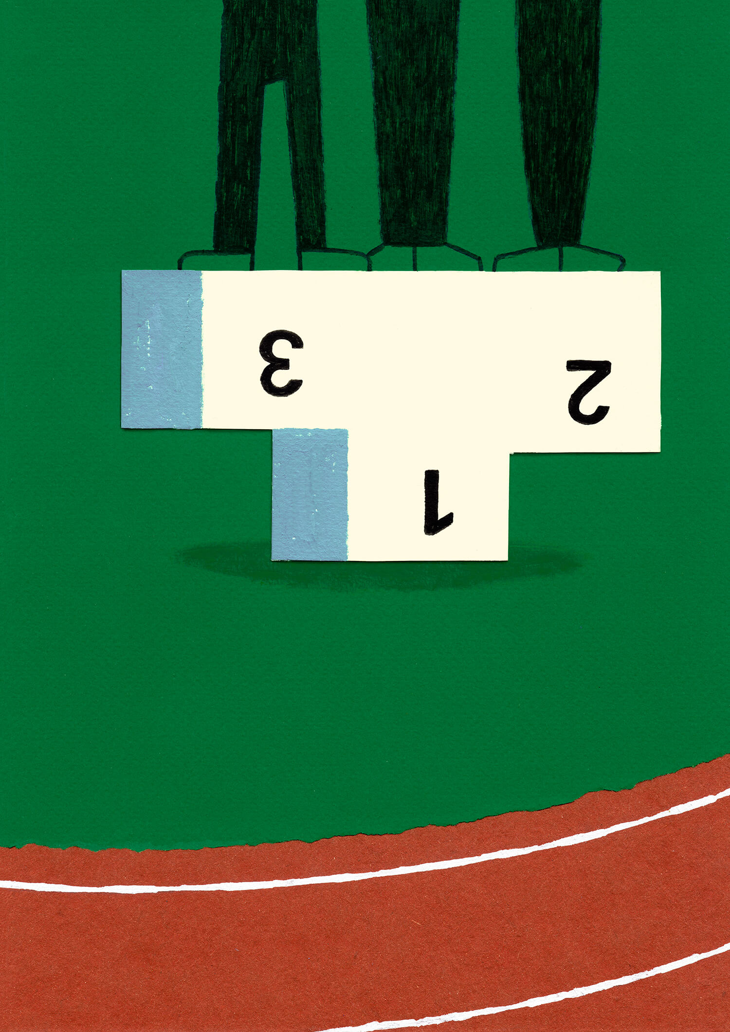 miguel porlan, illustration, fair play, podium, original artwork