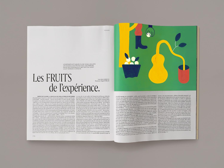 miguel porlan, illustration, m magazine du monde, champagne, spirits